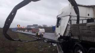Crashed lorry on M1