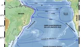 Mapa correntes marítimas do Atlântico Sul entre Brasil e África