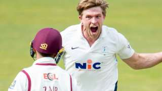 Yorkshire's David Willey celebrates a wicket