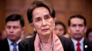 Aung San Suu Kyi listens to proceedings at the International Court of Justice at The Hague