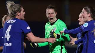 Ann-Katrin Berger celebrates her first penalty save against Atletico Madrid