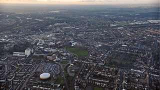 Aerial shot of Peterborough