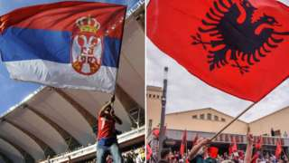 srpska i albanska zastava, zastave