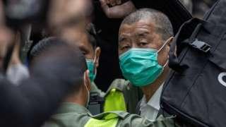 香港终审法院外黎智英被押下囚车(9/2/2021)