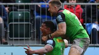 Nathan Earle celebrates his try for Harlequins at Bath