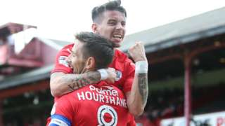 Conor Hourihane celebrates Barnsley's opening goal against Derby County
