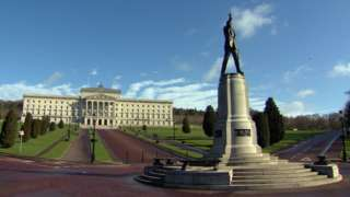 The statue of Edward Carson in front of Parliament Buildings at Stormont