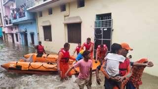 Rescue operation in Udhamsingh Nagar, Uttarakhand.