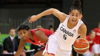 Kia Nurse #5 of Canada controls the ball past Angel Mccoughtry #8 of United States during the women's basketball game on Day 7 of the Rio 2016 Olympic Games