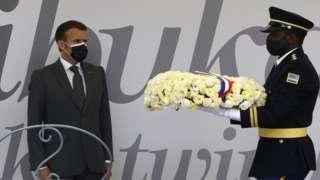President Macron lay flower for Kigali