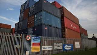 Containers stacked at a depot near the port of Tilbury