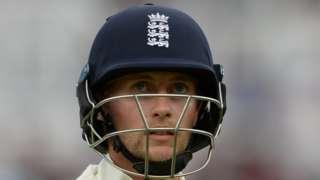 England captain Joe Root is dismissed for 16 at Trent Bridge