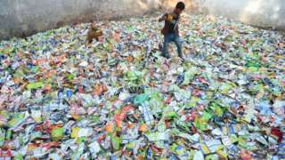 Polythene often ends up in landfill or dumps