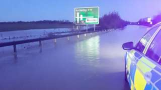 Flooding on the A14