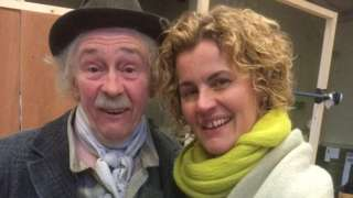 Stage manager Sarah Cash with Only Fools and Horses actor Paul Whitehouse