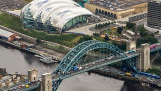 Aerial shot of the Tyne Bridge with Gateshead Quays in the background