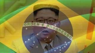 bandeira com lider norte-coreano
