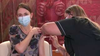 Jacinda Ardern receives her first dose of the Covid-19 vaccine in Auckland, New Zealand, June 18, 2021