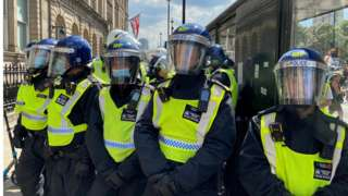 Police on duty at a demonstration