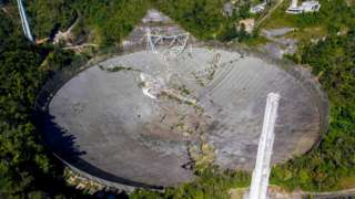 An aerial view shows the damage at the Arecibo Observatory after one of the main cables holding the receiver broke in Arecibo, Puerto Rico, on December 1, 2020.