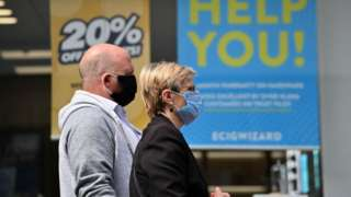 People wearing masks in Leicester city centre