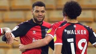 Maxime Biamou celebrates