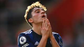 Daniel James of Leeds United reacts after a missed chance