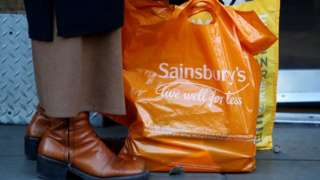 """Sainsbury's bag with the slogan """"live well for less"""""""