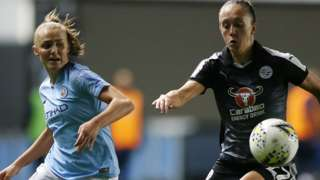 Man City Women's Georgia Stanway competes with Reading Women's Jo Potter