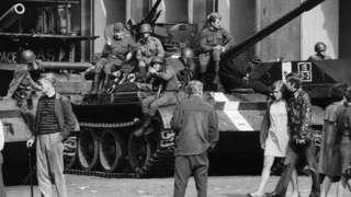 Soviet tanks on the streets of Prague, 21 Aug 68