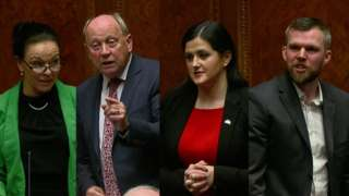 Claire Bailey, Jim Allister, Claire Sugden and Gerry Carroll