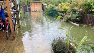 Flooded garden in east Oxford