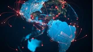Ilustração de mapa-múndi com fios vermelhos ligando cidades e países