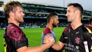 Corey Anderson and Lewis Gregory celebrate Somerset's victory over Middlesex in the T20 Blast