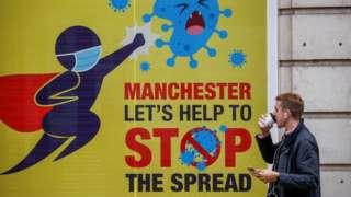 Coronavirus sign in Manchester
