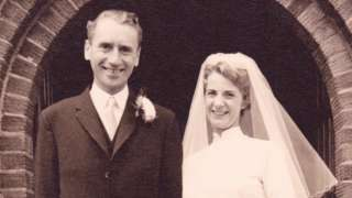 Cynthia Tuck on her wedding day, with her husband George