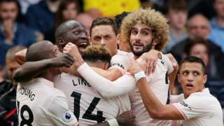 Manchester United celebrate the opening goal
