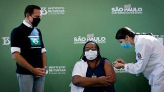 Monica Calazans, a nurse at the Hospital las Clinicas in the capital of Sao Paulo