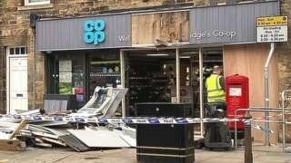 Damage outside shop