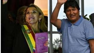 Jeanine Áñez e Evo Morales