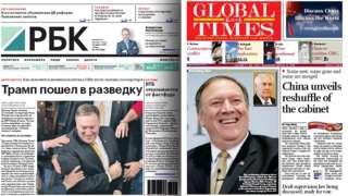 Front pages of RBC and Global Times