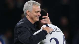 Serge Aurier celebrates with Jose Mourinho