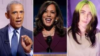 From left to right: Barack Obama, Kamala Harris, Billie Eilish