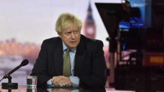 Boris Johnson in a BBC studio