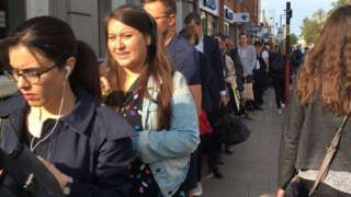 Queues at Surbiton station