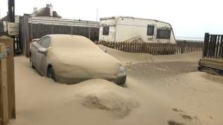 Sand storm at Walcott, Norfolk