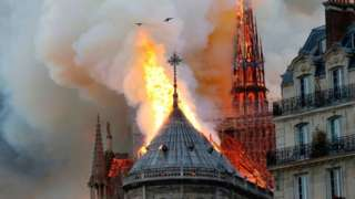 Notre Dame on fire on 15 April, 2019.