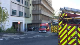 Fire crews at Bristol Royal Infirmary's haematology and oncology centre