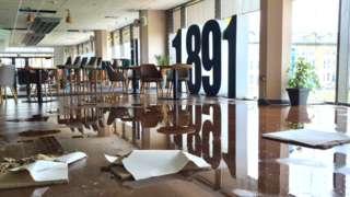 Damaged theatre restaurant
