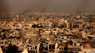 Wide view of the old city of Aleppo